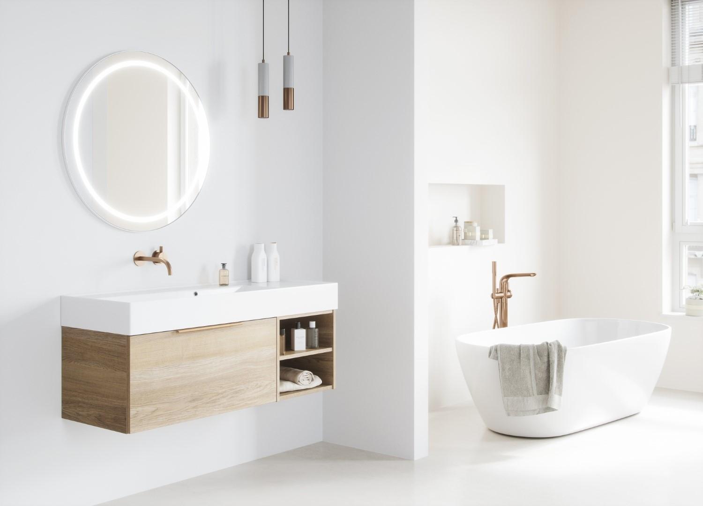 Een tijdloze witte badkamer