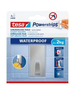 Powerstrips WATERPROOF Haak Large, rechthoekig, metaal, 1 haak + 2 strips