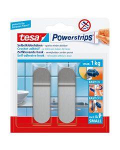 Powerstrips Haak Small, langwerpig, metaal, 2 haken + 4 strips
