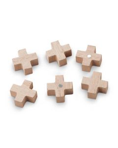 Houten Magneten Kruis/Plus 6 stuks