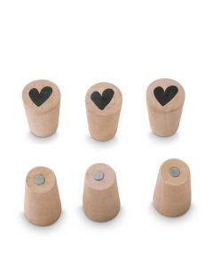 Houten Magneten met hartje 6 stuks