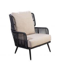 Tsubasa lounge chair alu black/rope black/flax