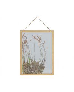 Potpourri fotolijst bloemen met houten rand 40x30