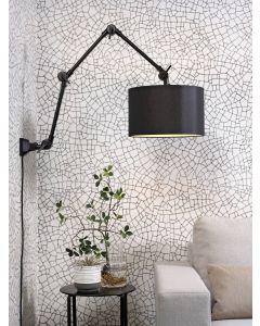 Wandlamp ijzer/stof Amsterdam h.85cm/kap 32x20cm zwart  L