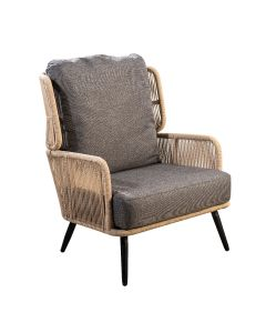 Tsubasa lounge chair alu black/rope natural/soil