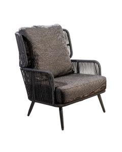 Tsubasa lounge chair alu black/rope black/soil