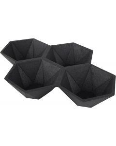 Serveerschaal Hexagon Zwart