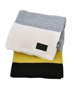 Plaid Knitted Stripes Black Grey Yellow White