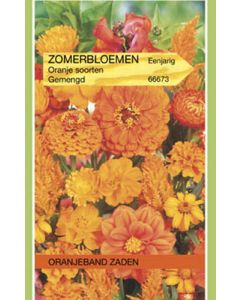 Oranjeband zaden zomerbloemen gemengd oranje
