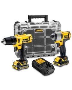 10.8V Voordeelset: Schroef/boormachine DCD710 + slagschroevendraaier DCF815D2